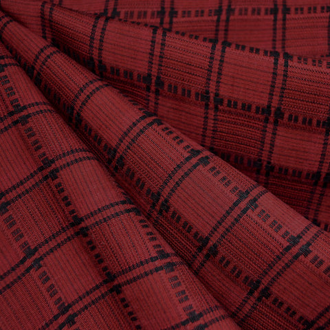 Grid Plaid Tencel Shirting Red/Black