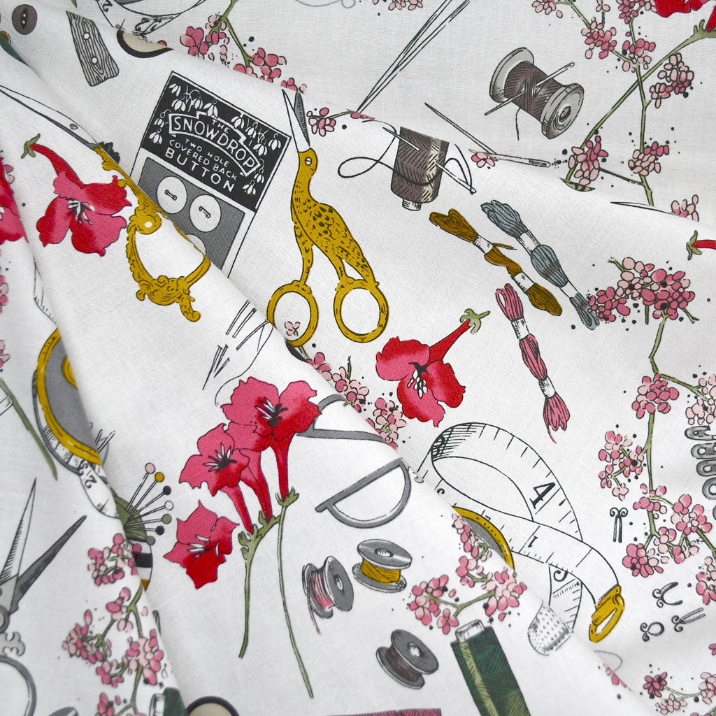A Ghastlie Notion Sewing Print Cotton Natural SY - Sold Out - Style Maker Fabrics