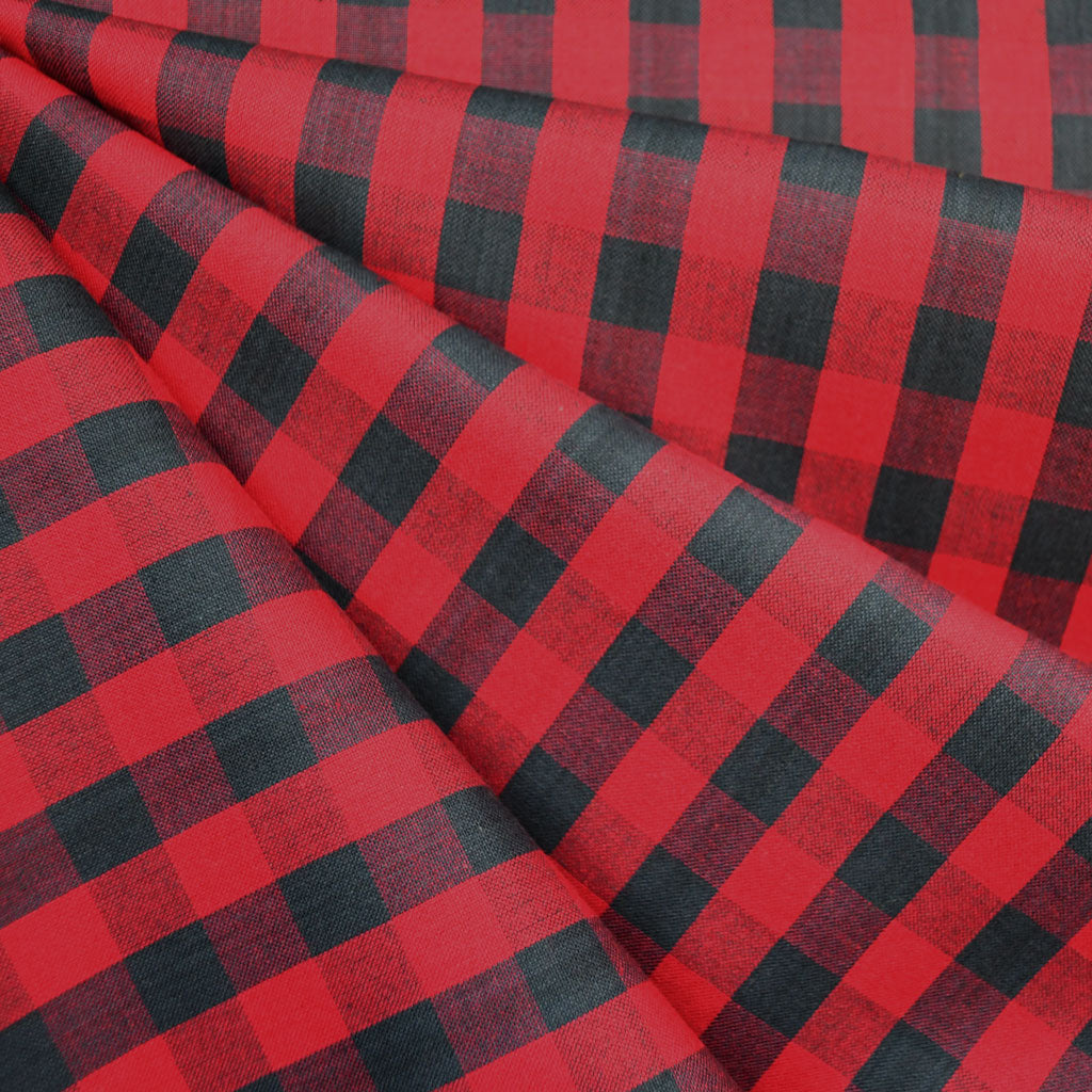 Oxford Check Shirting Red/Charcoal - Fabric - Style Maker Fabrics