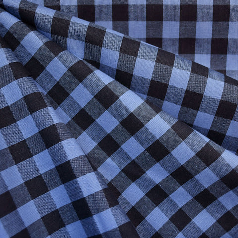 Oxford Check Shirting Periwinkle/Charcoal