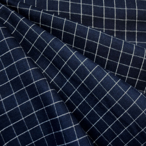 Brushed Yarn Dyed Plaid Shirting Navy/White
