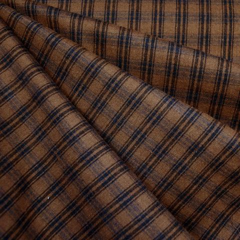 Brushed Yarn Dyed Plaid Shirting Sepia/Black
