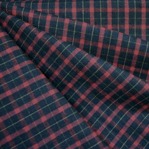 Brushed Yarn Dyed Plaid Shirting Black/Cranberry