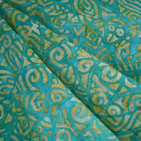 Tribal Leaf Rayon Batik Aqua/Lime