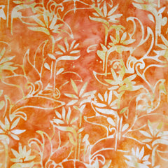 Bamboo Scroll Rayon Batik Tangerine - Sold Out - Style Maker Fabrics