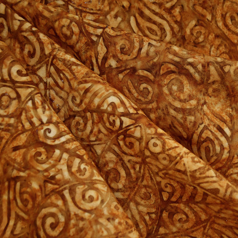 Tribal Leaf Rayon Batik Rust/Brown SY