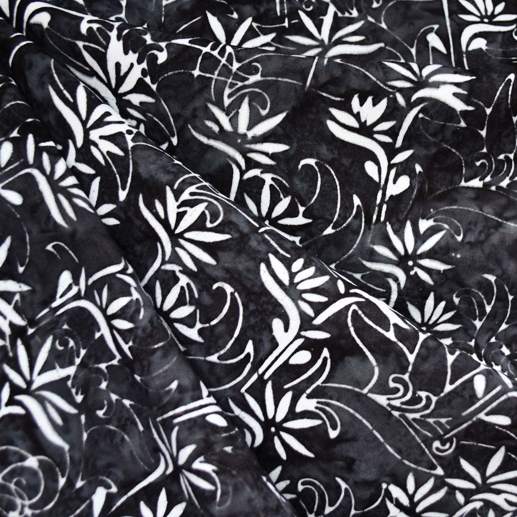 Bamboo Scroll Rayon Batik Black - Sold Out - Style Maker Fabrics