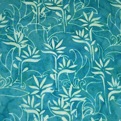Bamboo Scroll Rayon Batik Teal - Fabric - Style Maker Fabrics