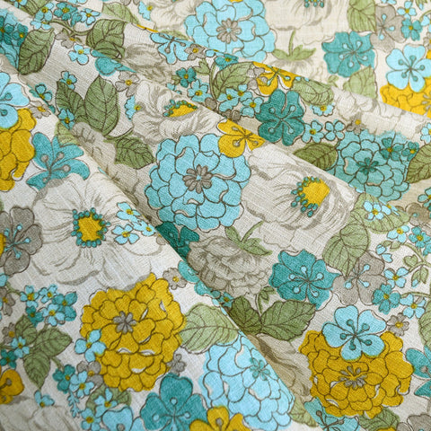 Japanese Vintage Inspired Floral Barkcoth Aqua/Yellow