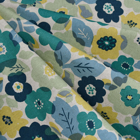 Japanese Layered Floral Canvas Teal/Citron SY