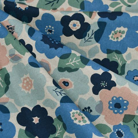 Japanese Layered Floral Canvas Blue/Blush
