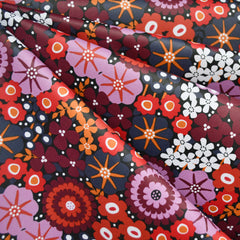Modern Floral Laminated Cotton Red/Lavender - Fabric - Style Maker Fabrics