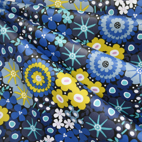 Modern Floral Laminated Cotton Blue/Lime