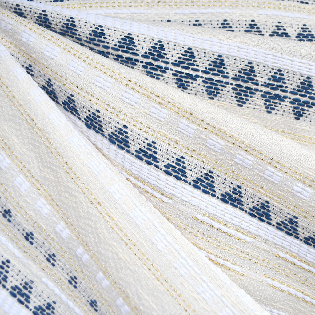 Geometric Metallic Stripe Textured Woven Ivory/Navy/Gold - Fabric - Style Maker Fabrics
