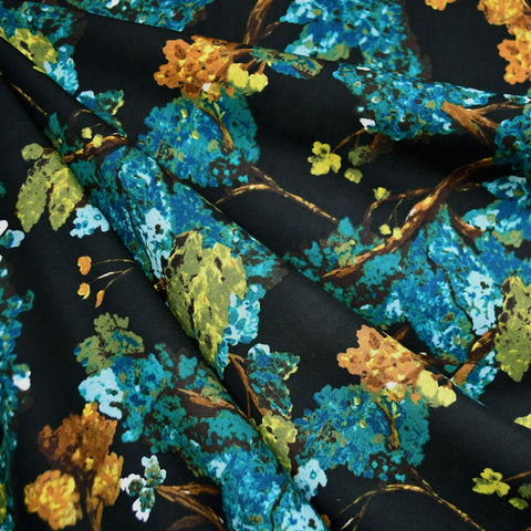 Virtuosa Mysterious Branches Rayon Teal SY