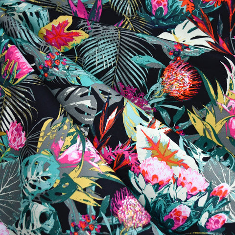 Tropical Jungle Escape Pima Cotton Black