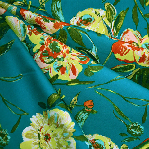 Virtuoso Prima Floral Pima Cotton Teal