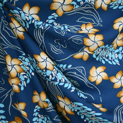 Hawaiian Goddess Rayon Shirting Navy/Aqua