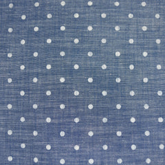 Polka Dot Chambray Shirting Blue/White - Sold Out - Style Maker Fabrics
