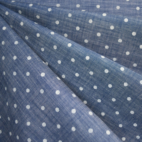 Polka Dot Chambray Shirting Blue/White