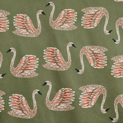 Swans Swimming Cotton Sateen Shirting Olive - Fabric - Style Maker Fabrics
