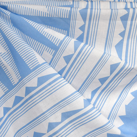 Geometric Double Border Cotton Lawn Blue/White