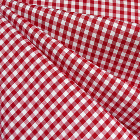 Summer Gingham Stretch Cotton Shirting Red/White SY