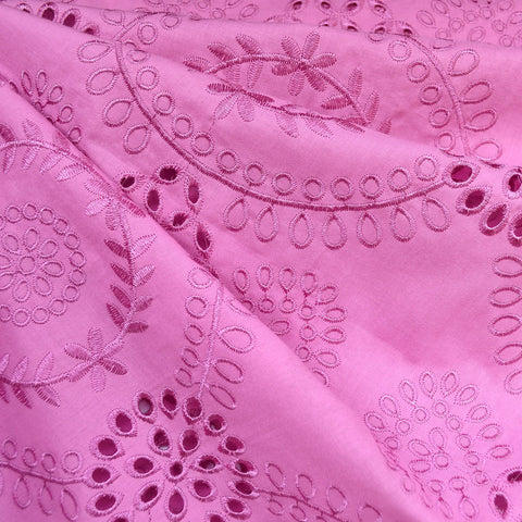 Embroidered Medallion Italian Cotton Eyelet Magenta