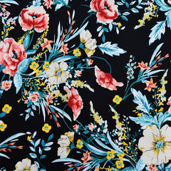 Colorful Floral Cotton Sateen Shirting Black/Cream - Fabric - Style Maker Fabrics