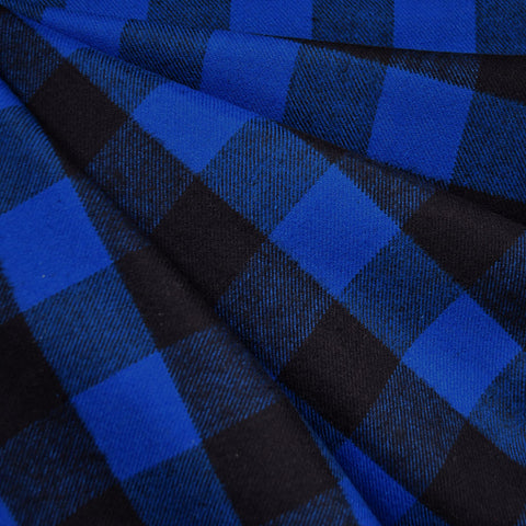 Cozy Cotton Flannel Buffalo Check Royal/Black