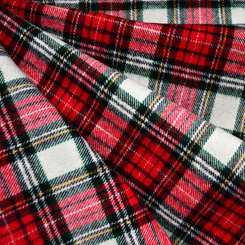 Cozy Cotton Flannel Tartan Plaid Cream/Red SY