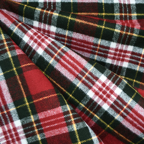 Cozy Cotton Flannel Tartan Plaid Red/Green SY