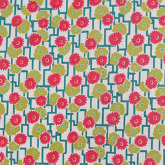 Garden Floral Lattice Cotton Lawn Cream/Lime - Fabric - Style Maker Fabrics