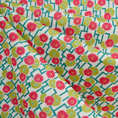 Garden Floral Lattice Cotton Lawn Cream/Lime
