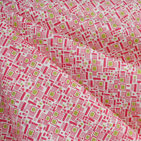 Colorful Mosaic Cotton Lawn Fuchsia/Lime SY