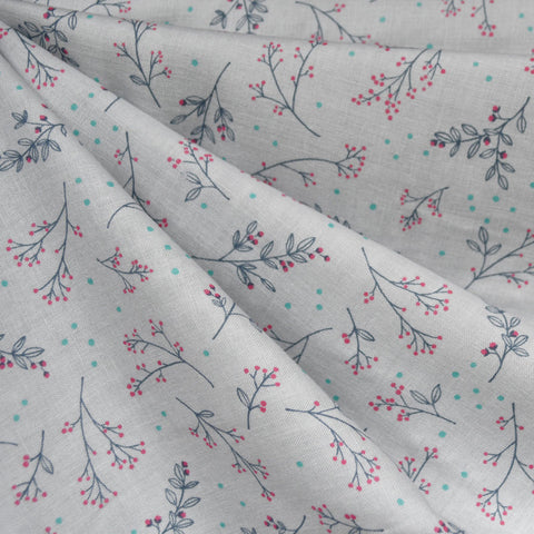 Japanese Spring Twigs Double Gauze Soft Grey