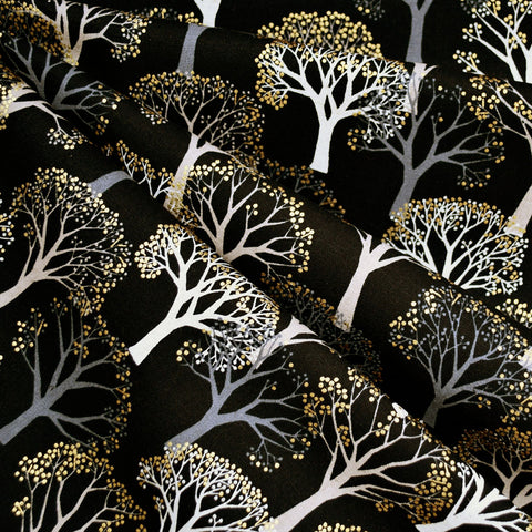Japanese Metallic Trees Canvas Black/Gold
