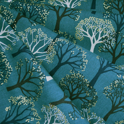 Japanese Metallic Trees Canvas Teal/Gold