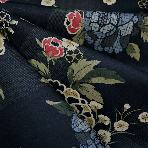 Japanese Dobby Texture Cotton Asian Floral Black