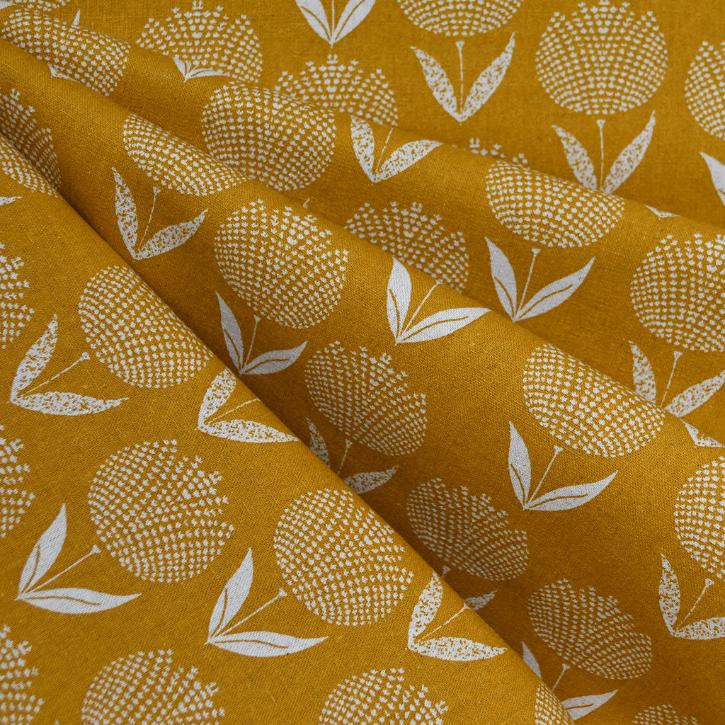 Japanese Dot Floral Canvas Mustard/Natural SY - Sold Out - Style Maker Fabrics