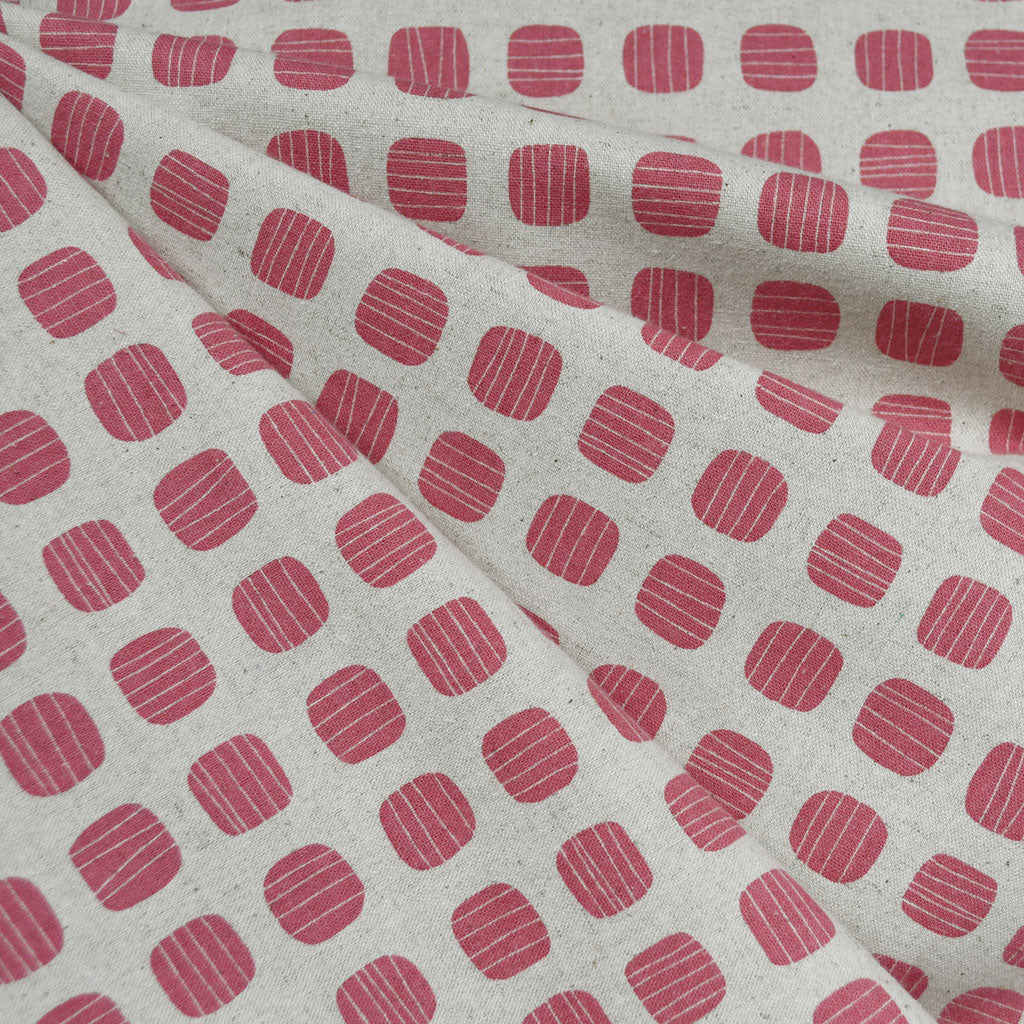 Japanese Stripe Dot Canvas Rose/Natural SY - Sold Out - Style Maker Fabrics