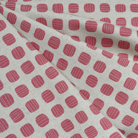 Japanese Stripe Dot Canvas Rose/Natural