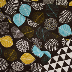 Japanese Reversible Geometric Leaf Canvas Black - Sold Out - Style Maker Fabrics