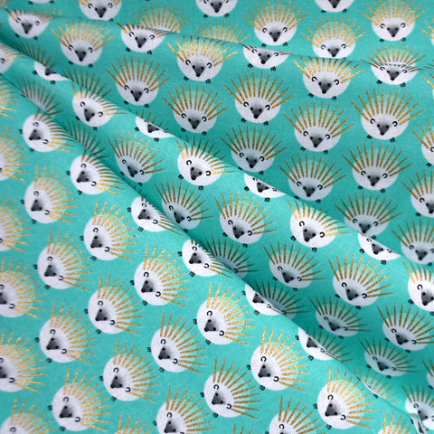 Hedgehog Dot Metallic Cotton Aqua/Gold SY