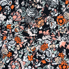 Millefiori Layered Floral Jersey Knit Charcoal/Coral SY - Selvage Yard - Style Maker Fabrics