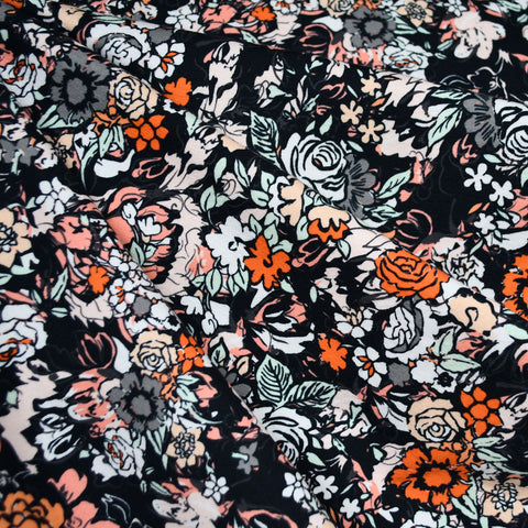 Millefiori Layered Floral Jersey Knit Charcoal/Coral