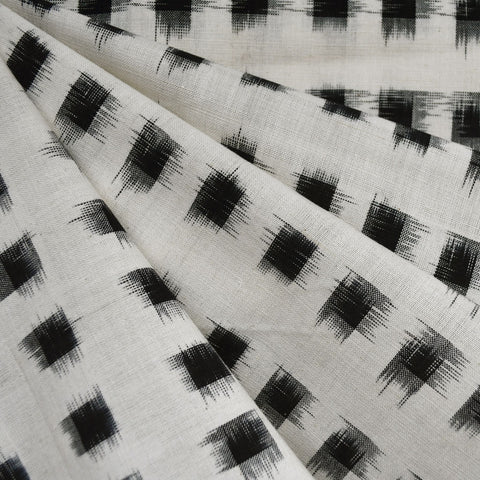 Square Double Ikat Shirting Vanilla/Black