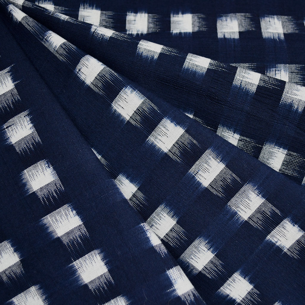Square Double Ikat Shirting Navy/Vanilla - Fabric - Style Maker Fabrics