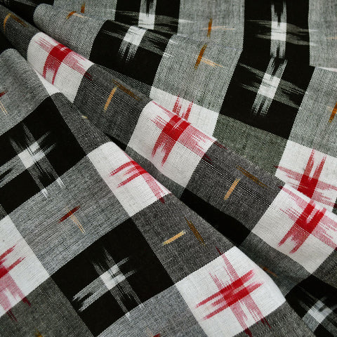 Ikat Gingham Shirting Black/Vanilla/Red