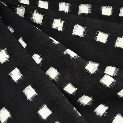 Square Double Ikat Shirting Blackl/Vanilla